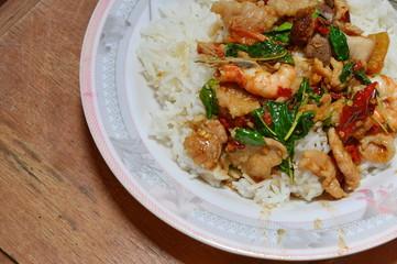 spicy fried stir basil leaf with shrimp and pork
