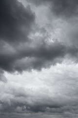 Thunderclouds over horizon. Storm sky background.