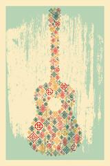 Guitar concept made of folk ornament. Vector illustration.