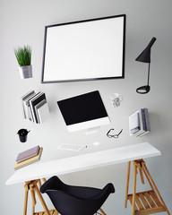 modern computer template, workspace mock up