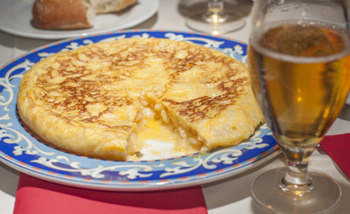 Authentic spanish tortilla. Served at a typical spanish restaurant in Madrid.