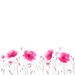 Floral glade with pink poppies and cornflowers. Seamless ornament.
