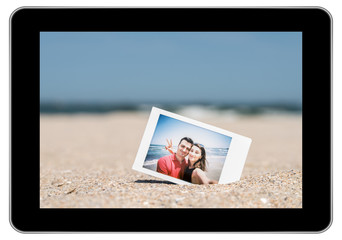 Instant Photo Of Young Couple On Beach On Modern Black Tablet
