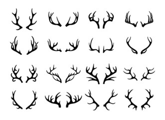 Vector deer antlers black icons set