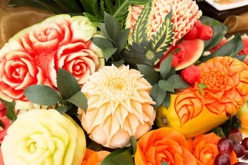 fruit carved shape beautiful flowers