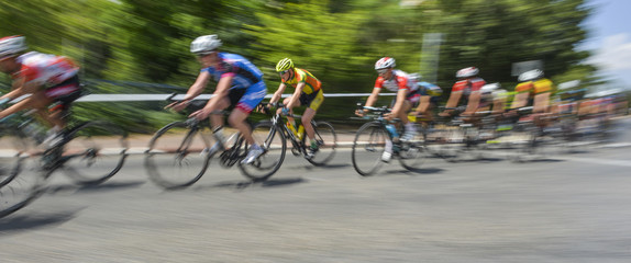peloton of bicycle riders in a race in motion