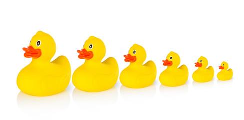 Descending rubber ducks in a row