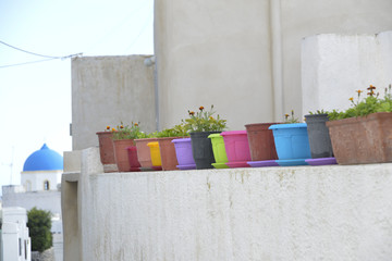 colored pots, Santorini Greece