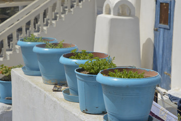 blue pots, Santorini Greece