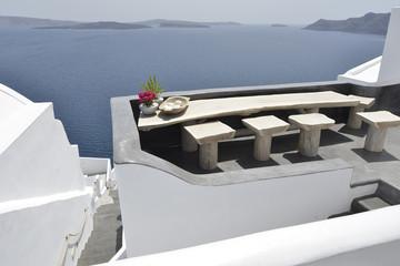 terrace at Oia Santorini Greece