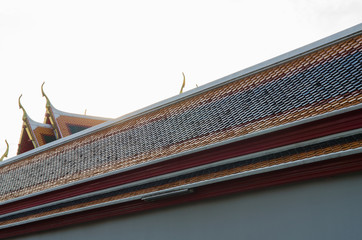 The different colors on the church roof in Wat Pho