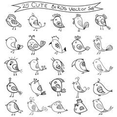 Set of 25 cute birds in vector. Birds doodle collection.
