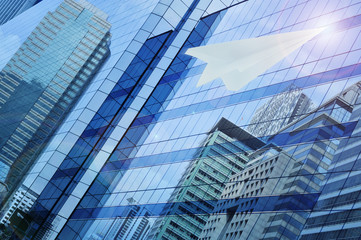 Fototapete - Airplane paper flying on window tower, leader business concept