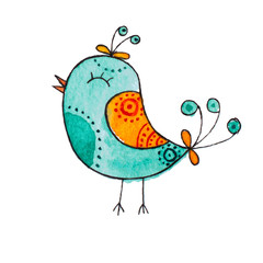 Abstract watercolor mint bird