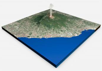 Vista satellitare del vulcano Vesuvio, Napoli, Italia