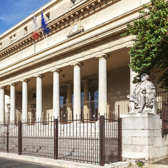 Square view of court of appeal in Aix en Provence with statues