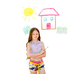 child the girl drew with paints the house and the sun