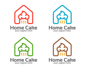 Home cake logo template. Symbol and icon of home cake industry.