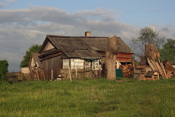 Wretched rickety hovel in the countryside Wall mural