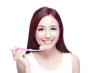 Smile woman brush teeth