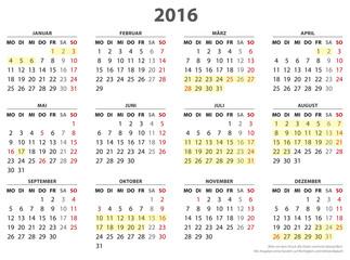Jahreskalender 2016 mit Ferienterminen alle BL