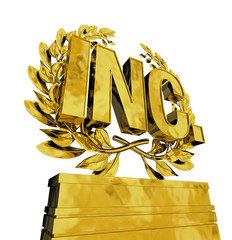 INC in golden letters on podest