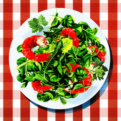 Green salad with shrimps on white plate, watercolor