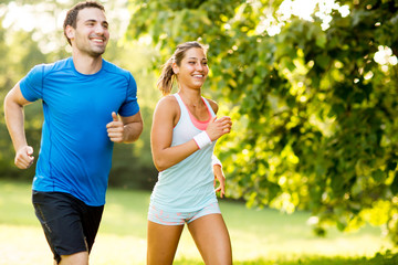 Keuken foto achterwand Jogging Young couple running