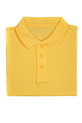 Neatly folded yellow polo shirt isolated on white background