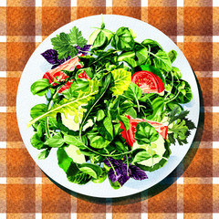 salad with vegetables and greens on white plate