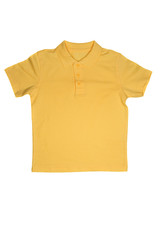 Yellow polo shirt isolated on white background
