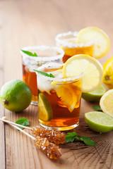 Sweet ice tea with lemon
