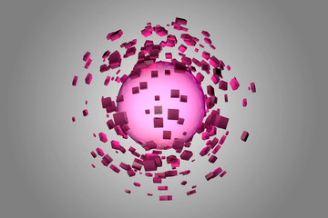 Explosion of glowing sphere into smaller pieces. 3D render image