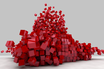 Explosion of field of red cubes. 3D render image.