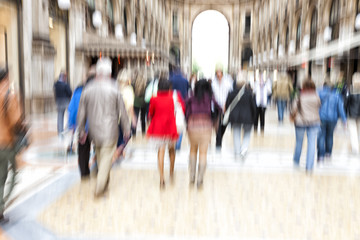 Shopping spree, zoom effect, motion blur