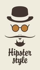 Portree hipster man with a mustache hat and glasses