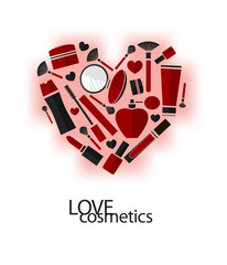 Vector flat infographics icons collection of beauty and cosmetics. Heart shape, love cosmetics.
