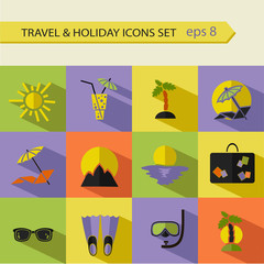 Vector flat icons collection with long shadow effect in modern colors of traveling, tourism and vacation.