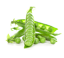 Fresh green peas pods isolated on white background