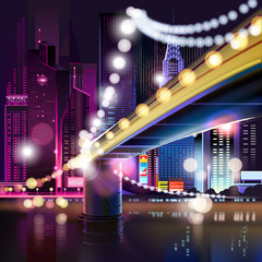 Abstract urban night landscape with parts of buildings and bridge,lights cars,city,metropolis. Vector background. Effect blur, bokeh, light point, color flows. The world of light and color. handiwork.