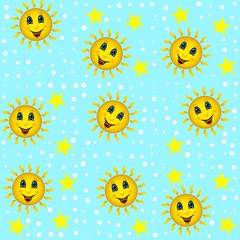 Jammies seamless pattern whith sun and stars
