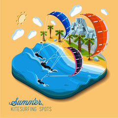 Summer kitesurfing sport.Part of the land to the sea and the mountains,palm trees and people skiers on the water,paradise,summer vacation,sea,ocean,on the beach.Vector work flat isometric 3D concept.