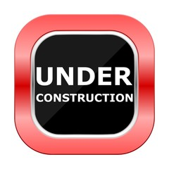 Under Construction Square Red Button