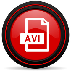 avi file red glossy web icon
