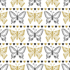 Cute seamless pattern of butterflies black and gold colors. Hand