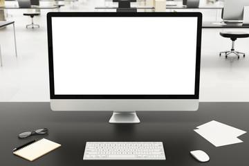 desktop in a modern office, mockup