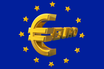 Gold emblem euro isolated on a blue background with stars around