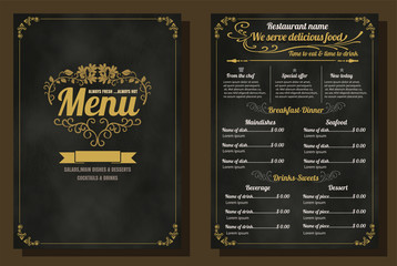 Restaurant Food Menu Vintage Design with Chalkboard Background v