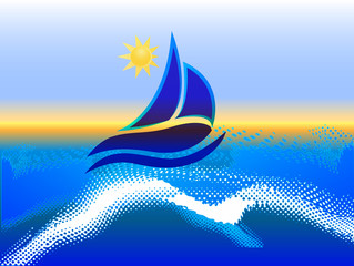 Boat waves and sun ocean beach frame picture vector icon logo