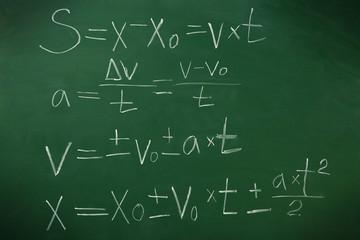 Physics formulas on blackboard background